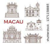 macau travel landmark vector... | Shutterstock .eps vector #1371158885