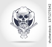sketch  skull with cowboy hat ... | Shutterstock .eps vector #1371275342