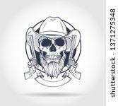 sketch  skull with cowboy hat ... | Shutterstock .eps vector #1371275348