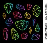 neon crystals isolated on black ... | Shutterstock . vector #1371296888