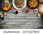 top view composition of various ... | Shutterstock . vector #1371327842