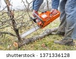 worker using chain saw and... | Shutterstock . vector #1371336128