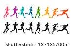 running marathon  people run ... | Shutterstock .eps vector #1371357005