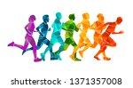 running marathon  people run ... | Shutterstock .eps vector #1371357008
