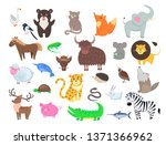 cute wild and domestic animals... | Shutterstock . vector #1371366962