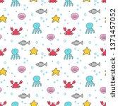 hand drawn sea creatures vector ... | Shutterstock .eps vector #1371457052