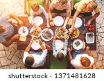big family have a dinner with... | Shutterstock . vector #1371481628