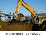 hydraulic excavator at work....   Shutterstock . vector #13715212