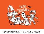 happy halloween greeting card... | Shutterstock .eps vector #1371527525