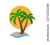 palm tree on the island on the... | Shutterstock .eps vector #1371532238
