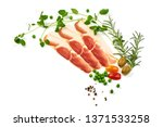 dried jamon slices  cured meat  ... | Shutterstock . vector #1371533258