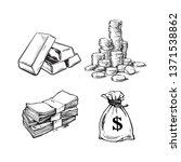 finance  money set. sketch of... | Shutterstock .eps vector #1371538862