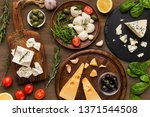 cheese variety  olives and... | Shutterstock . vector #1371544508