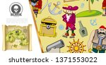 cartoon pirates adventure... | Shutterstock .eps vector #1371553022