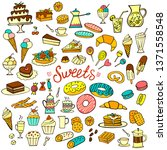 set of colorful doodle sweets... | Shutterstock .eps vector #1371558548
