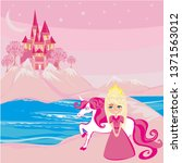 sweet princess and her unicorn... | Shutterstock .eps vector #1371563012