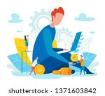 flat team operates efficiently... | Shutterstock .eps vector #1371603842