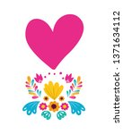garland with flowers and heart... | Shutterstock .eps vector #1371634112
