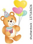 happy birthday teddy bear | Shutterstock .eps vector #137163626