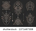 vector set of sacred geometric... | Shutterstock .eps vector #1371687308