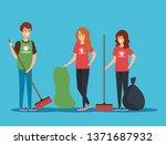 boy and girls volunteers with... | Shutterstock .eps vector #1371687932
