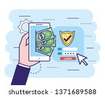 hand with smartphone and bills... | Shutterstock .eps vector #1371689588