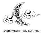 waning moon with clouds black... | Shutterstock .eps vector #1371690782