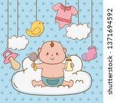 cute baby shower cartoon | Shutterstock .eps vector #1371694592