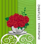 red rose in a white cup. happy... | Shutterstock .eps vector #137169842