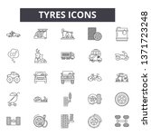 tyres line icons  signs set ... | Shutterstock .eps vector #1371723248