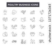 poultry business line icons ... | Shutterstock .eps vector #1371726365