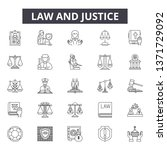 law and justice line icons ... | Shutterstock .eps vector #1371729092
