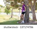 latin female golfer resting... | Shutterstock . vector #137174786