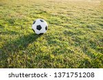 view of leather soccer ball on...   Shutterstock . vector #1371751208