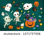 lovely halloween characters and ... | Shutterstock . vector #1371757508