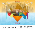 egypt landmark global travel... | Shutterstock .eps vector #1371828575