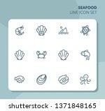 seafood line icon set. shrimp ... | Shutterstock .eps vector #1371848165