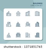 buildings line icon set. office ... | Shutterstock .eps vector #1371851765