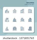 buildings line icon set. office ... | Shutterstock .eps vector #1371851765
