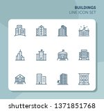 buildings line icon set. bank ... | Shutterstock .eps vector #1371851768