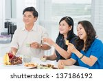 mature people drinking tea and... | Shutterstock . vector #137186192