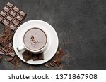 cup of hot chocolate and pieces ...   Shutterstock . vector #1371867908