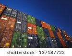 the cargo containers which are... | Shutterstock . vector #137187722