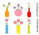 flower in vase. cute colorful...   Shutterstock .eps vector #1371901475