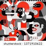 people got scared big dog. red  ... | Shutterstock .eps vector #1371910622