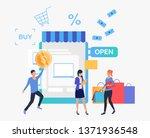 people buying goods in online... | Shutterstock .eps vector #1371936548