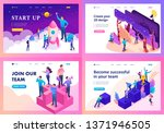 set of landing pages of... | Shutterstock .eps vector #1371946505