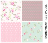 set of four flower with dot... | Shutterstock .eps vector #137197256