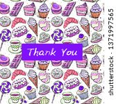 thank you card  note. hand... | Shutterstock .eps vector #1371997565