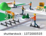 persons riding electric kick... | Shutterstock . vector #1372000535